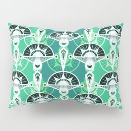 The art design. Retro . Green . Pillow Sham