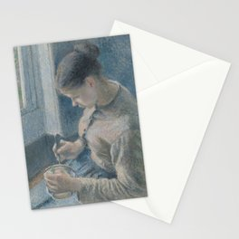 Camille Pissarro - Young Peasant Having Her Coffee Stationery Cards