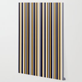 Modern Stripes in Mustard Yellow, Navy Blue, Gray, and White. Minimalist Color Block Wallpaper