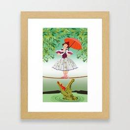 The Umbella girl With crocodile Framed Art Print
