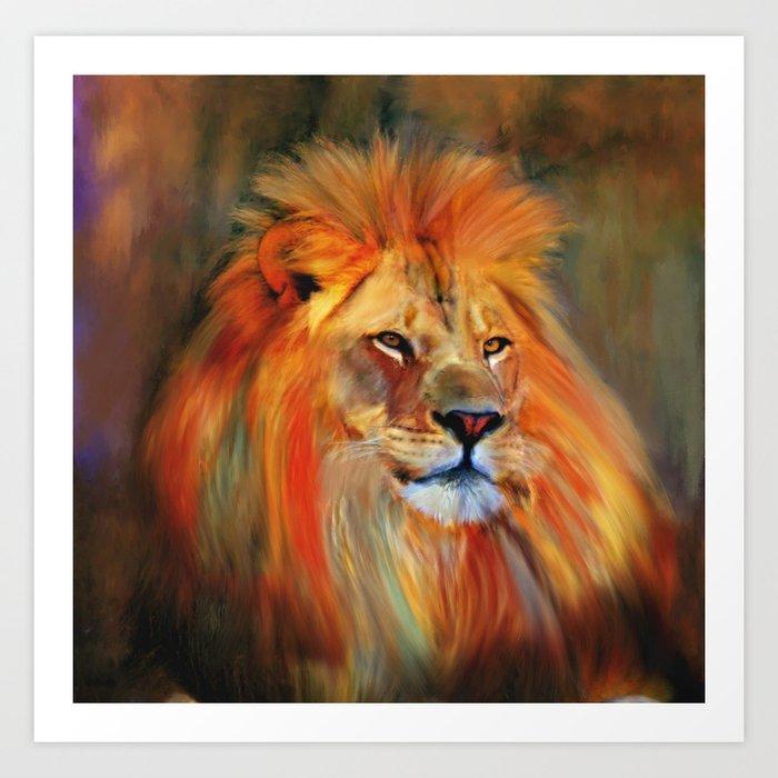 Aslan - Colorful Lion Art Print