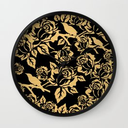Gold Rose Pattern on Black Wall Clock