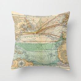 See Atlas 1906 - German Sea Atlas - North Atlantic: New York, Southampton, Lisbon, Rio de Janeiro Throw Pillow