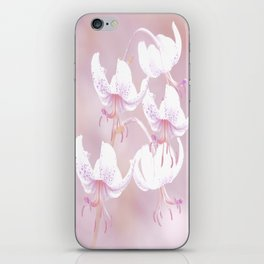 White lilies on pink background #decor #society6 iPhone Skin