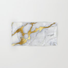 White and Gray Marble and Gold Metal foil Glitter Effect Hand & Bath Towel