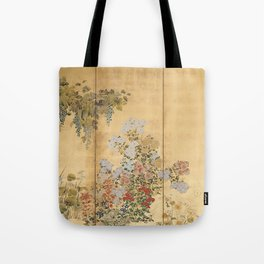 Japanese Edo Period Six-Panel Gold Leaf Screen - Spring and Autumn Flowers Umhängetasche