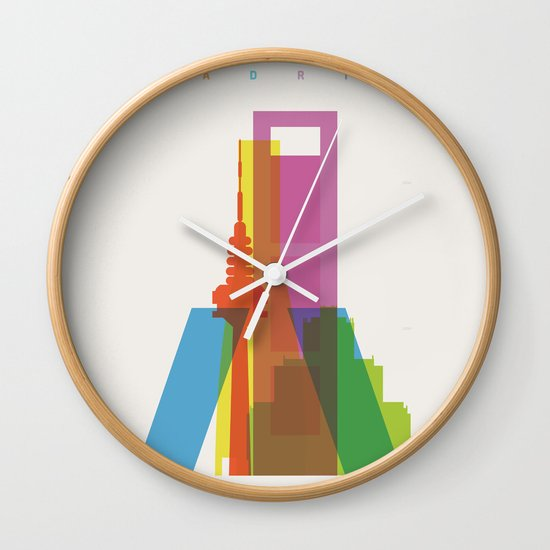 Shapes of Madrid. Accurate to scale. Wall Clock