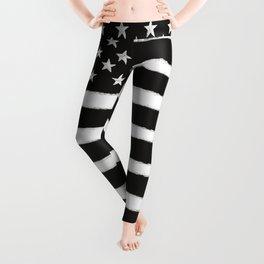 Black N White American Flag Distressed Style Leggings