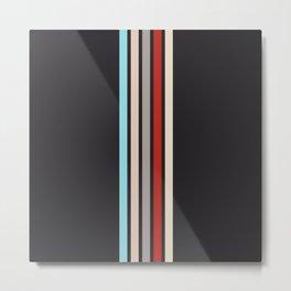 Colorful Retro Stripes Black Metal Print