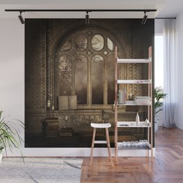 Gothic Library Window Wall Mural