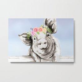 Petunia Pig Metal Print