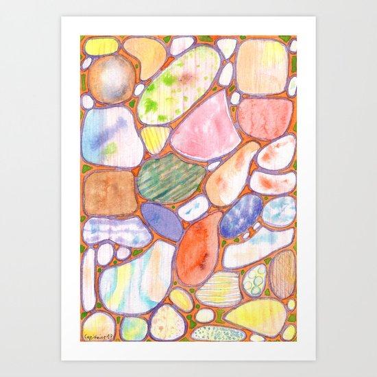 Friendly Colorful Pebbles Pattern Art Print