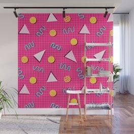 Geometric Memphis in Pink Wall Mural