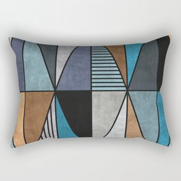 Colorful triangles - blue, grey, brown Rectangular Pillow