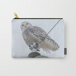 Snowy Owl on Power Lines Carry-All Pouch