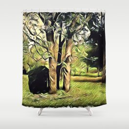 Trees In Surrealism Art Shower Curtain