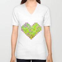valentines V-neck T-shirts featuring Neon Valentines by Fimbis