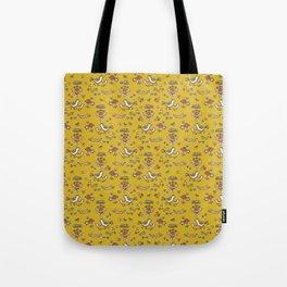 Cute Yellow Garden Flower Birds on Branch Tote Bag