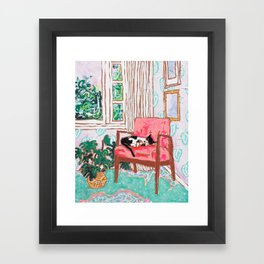 Little Naps - Tuxedo Cat Napping in a Pink Mid-Century Chair by the Window Framed Art Print