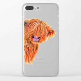 Scottish Hairy Highland Cow 'Peekaboo' by Shirley MacArthur Clear iPhone Case