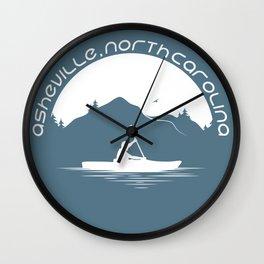 Asheville - Kayaking - AVL 9 White on Greyblue Wall Clock