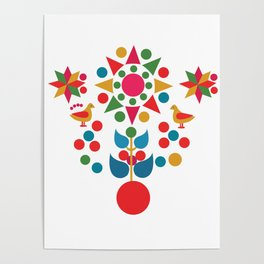 Sun, star and birds Poster