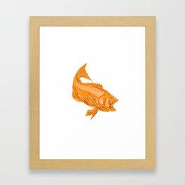 Largemouth Bass Diving Drawing Framed Art Print