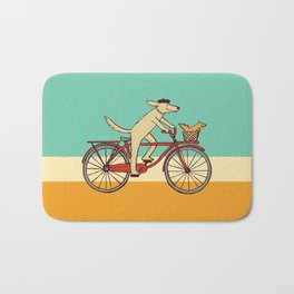 Cycling Dog with Squirrel Friend Bath Mat