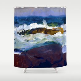 George Bellows Rock Reef in Maine Shower Curtain