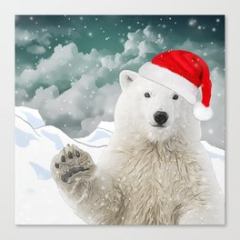Santa Polar Bear Canvas Print