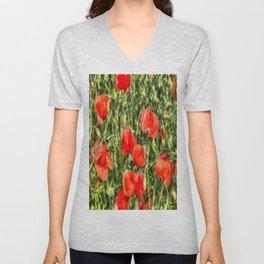 Poppys Of Summer Unisex V-Neck