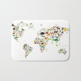 Cartoon animal world map for children and kids, Animals from all over the world on white background Bath Mat
