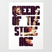 queens of the stone age Art Prints featuring Queens Of The Stone Age QOTSA Font Josh Homme Guitar by Fligo