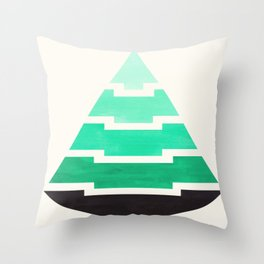 Turquoise Mid Century Modern Minimalist Aztec Triangle Geometric Pattern Pyramid Watercolor Gradient Throw Pillow