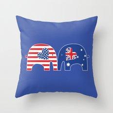 U.S.-Australia Friendship Elephants Throw Pillow