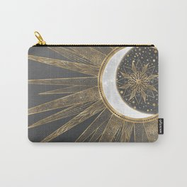 Elegant Gold Doodles Sun Moon Mandala Design Carry-All Pouch