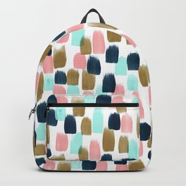 Pink, Mint, Navy & Gold Abstract Print, Nursery Art, Little Girls Room Backpack