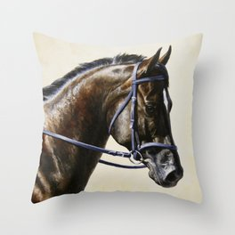 Dark Bay Dressage Horse Portrait Throw Pillow
