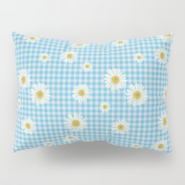 Daisies On Blue Gingham Pillow Sham