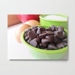 Baking ingredients bowl of chocolate chips Metal Print
