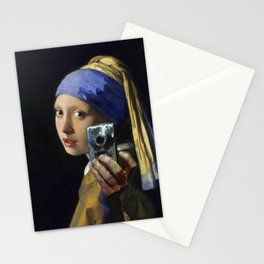 The Girl With The Pearl Earring Taking a Selfie portrait painting by Jan Vermeer & Mitchell Grafton Stationery Cards