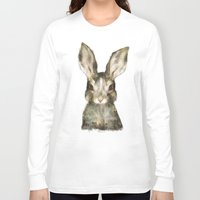 furry Long Sleeve T-shirts featuring Little Rabbit by Amy Hamilton