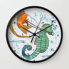 Sea horse and fish Wall Clock
