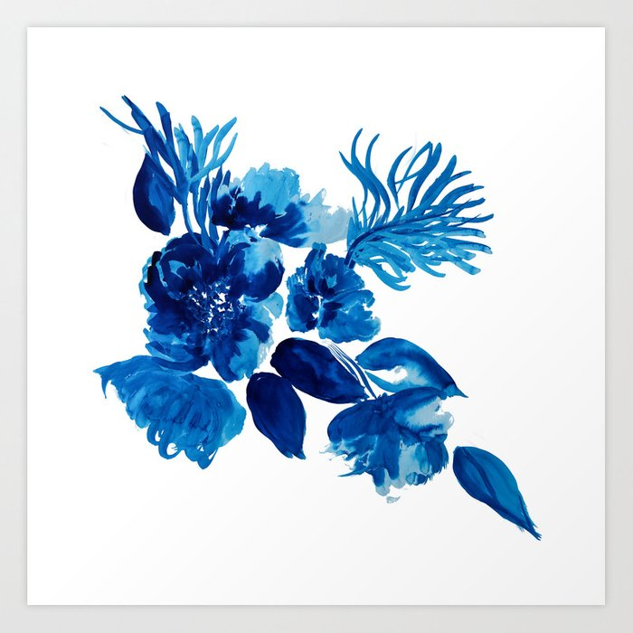 Blue Watercolor Flowers And Stems Art Print By Ilzelucero