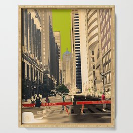 Downtown Chicago photography digitally reimagined - modern Chicago skyline in pop art Serving Tray
