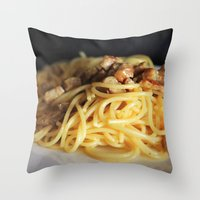 pasta Throw Pillows featuring Pasta by alemazza