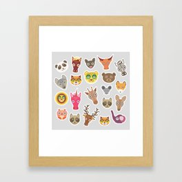 Sticker set of funny animals muzzle. Vector Framed Art Print