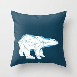 Blue geo polar bear looking for love.. Throw Pillow