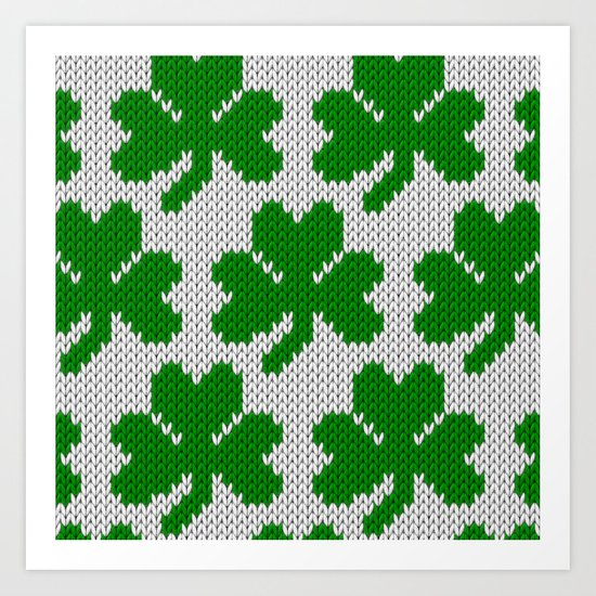 Shamrock pattern - white, green Art Print