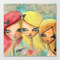 sisters Canvas Prints featuring Sisters by SannArt